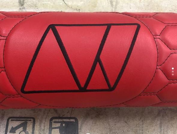 Red hexagon stitching tank wrap with custom emblem