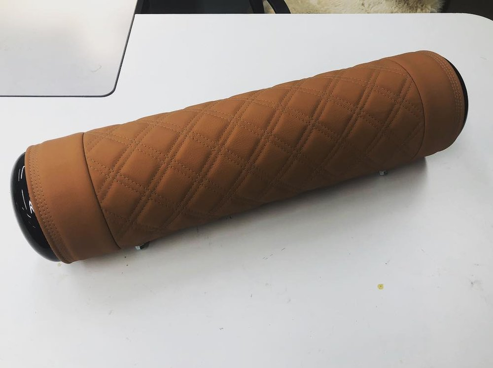 NW Crafted tan leather double diamond stitched tank wrap.
