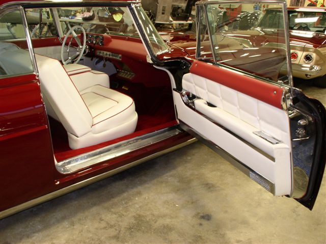 Lincoln Door Panel - custom white leather with red accent.