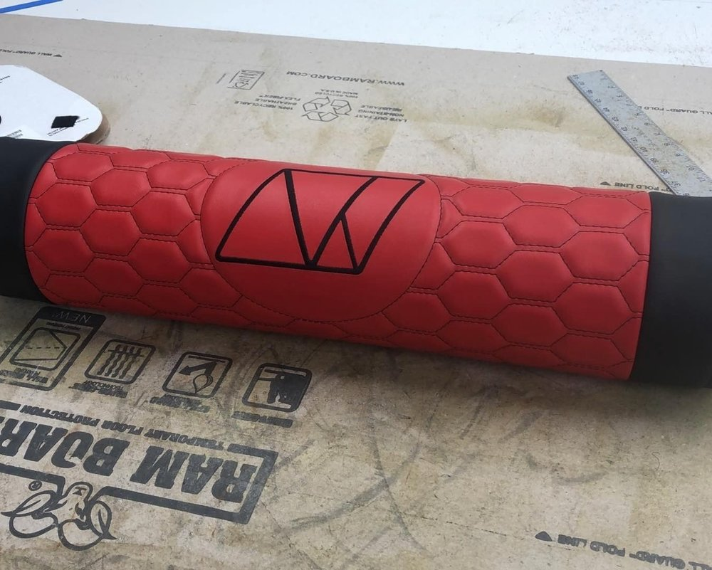 Custom  tank wrap with red leather with hexagon stitching and custom logo.