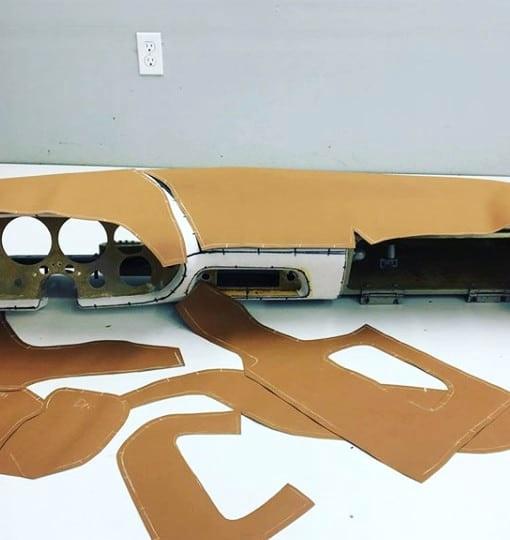 Custom dashes - leather cut for dash wrap.