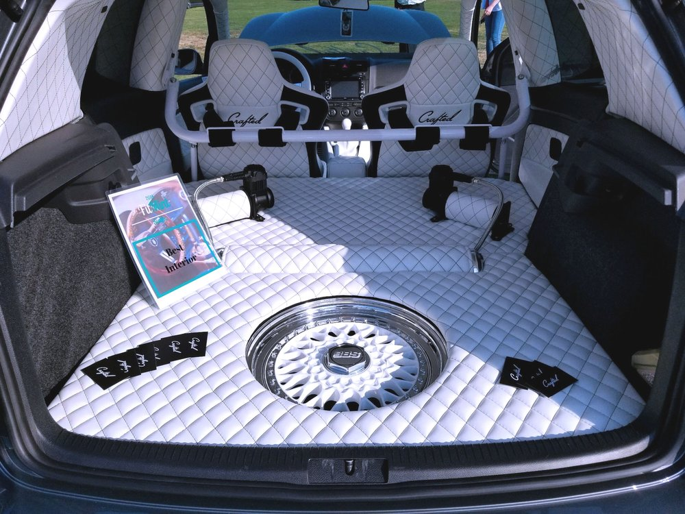 Award Winning Full Custom GTI Interior White Leather Diamond Stitch