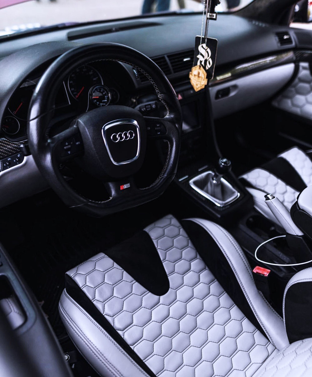 2006 Audi S4 - Full Custom interior - Hexagon Stitching on Silver Leather with black microsuede. Custom wrapped shift boot and matching door panels.