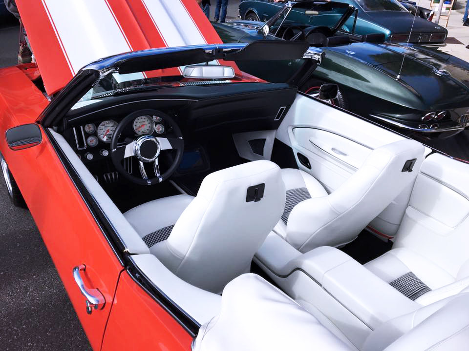 Convertible Camaro - Full custom interior  white leather  console  and matching door panels and custom white convertible top