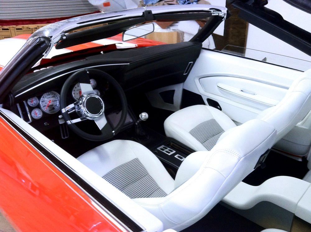 Convertible Camaro - Full custom interior white leather bucket seats.