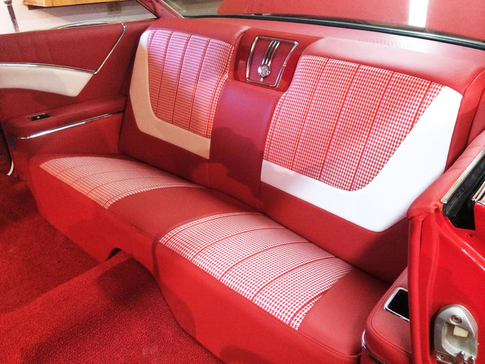 Impala restoration interior red and white leather seat restoration