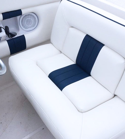 Custom  White and blue leather boat seats.