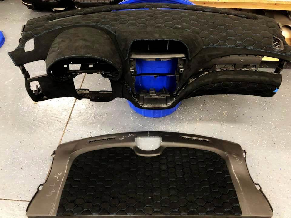 Custom Wrapped Dash-  High quality Alcantara suede wrapped dash - with hexagon stitching.