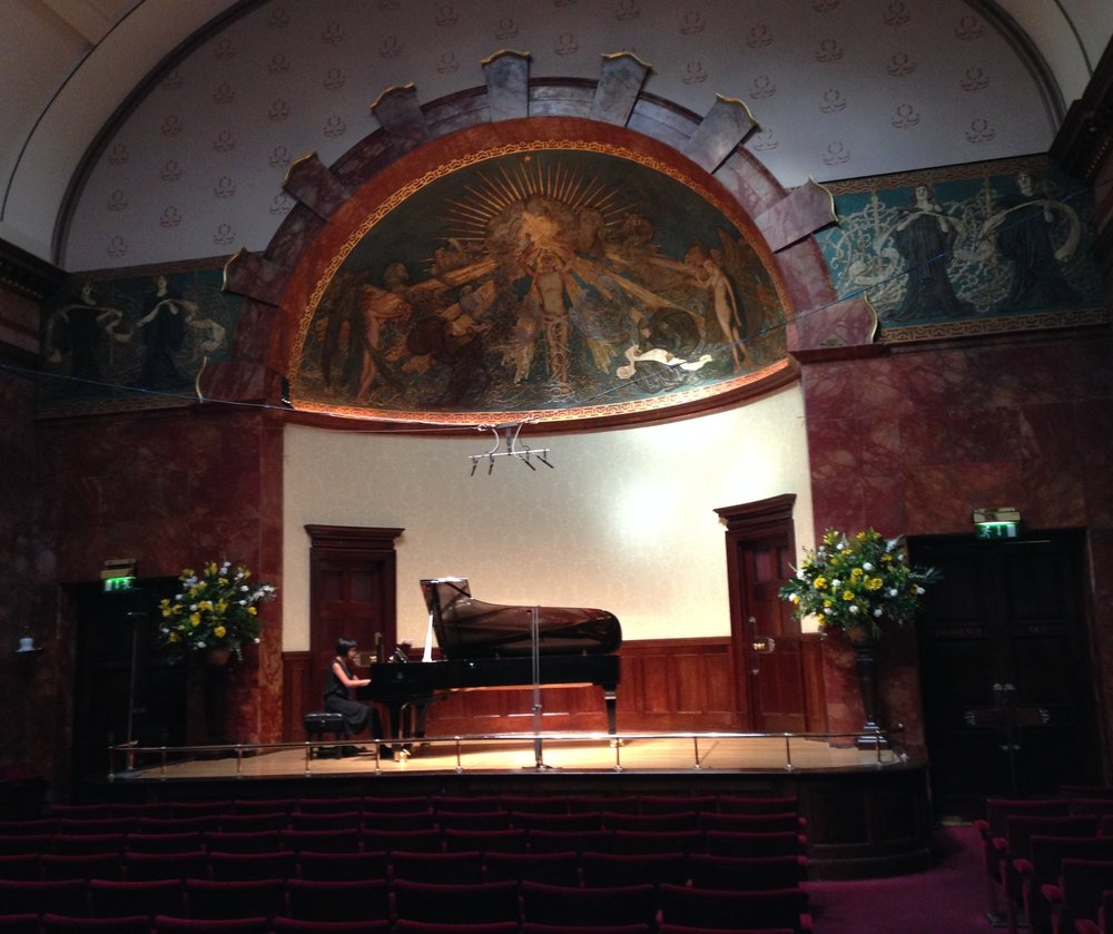 In rehearsal for a song recital at Wigmore Hall with soprano Rhona McKail.