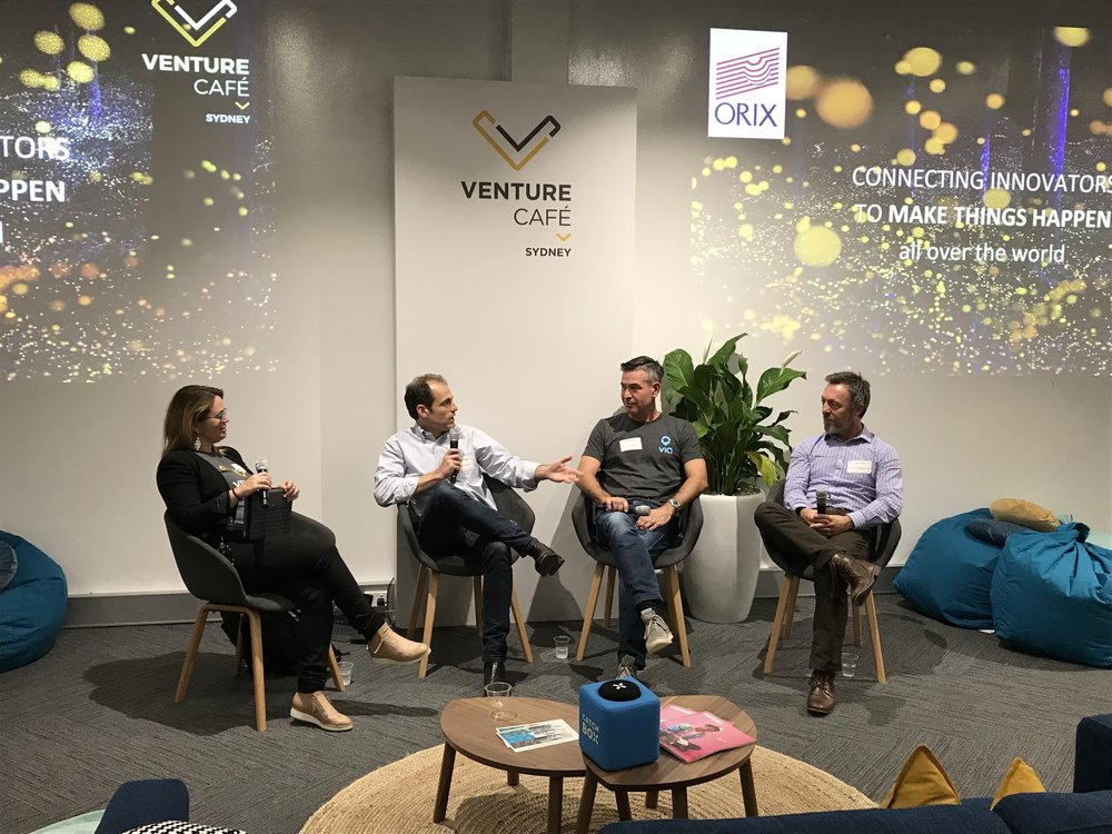 Zara Crichton (Venture Cafe) leading a discussion on starting-up a business in the mobility space with Evan Walker (Transport For NSW)