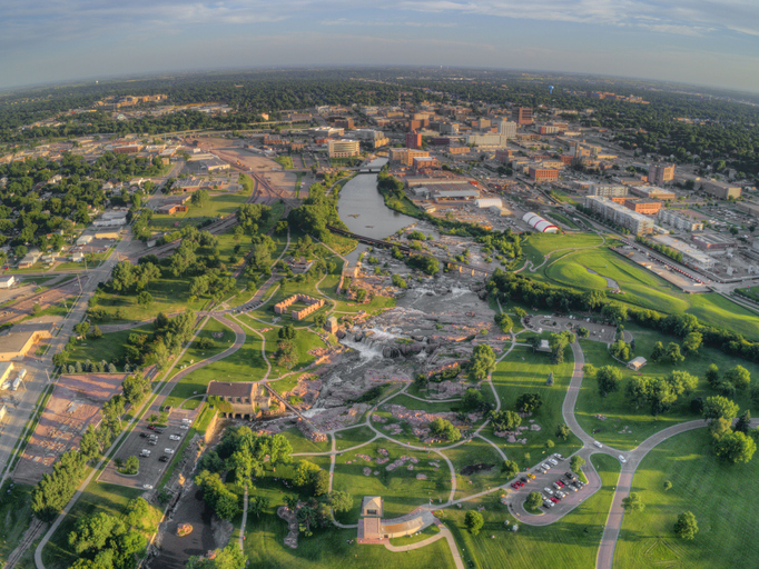 Summer Aerial View of Sioux Falls, The largest City in the State of South Dakota.