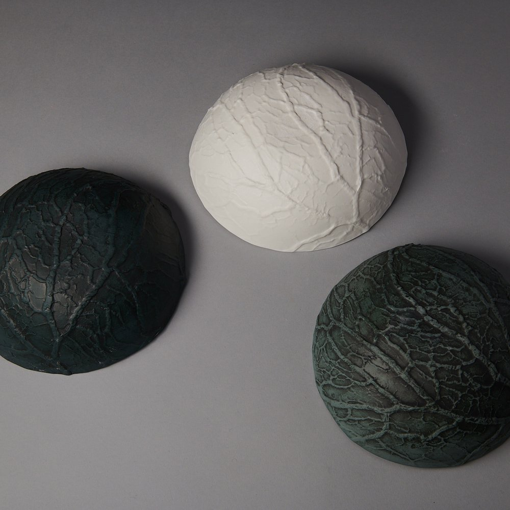 Caul bowl backs - from L to R - petrol blue with black stain, white, slate with black stain