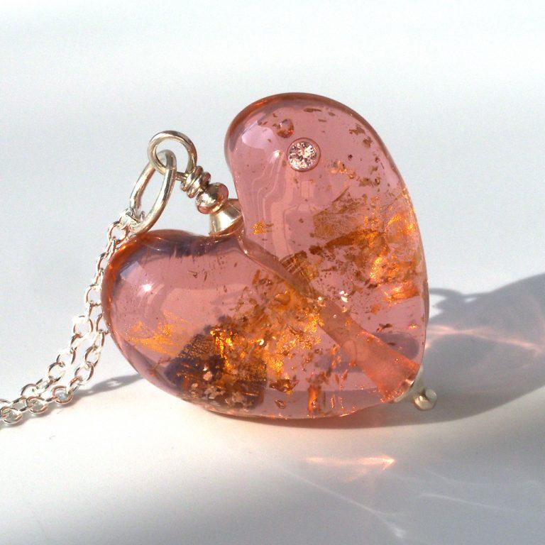 Rose Gold Glass Heart