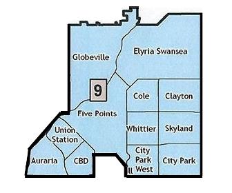 - Imagen: Mapa de vecindario del distrito 9 de Denver.