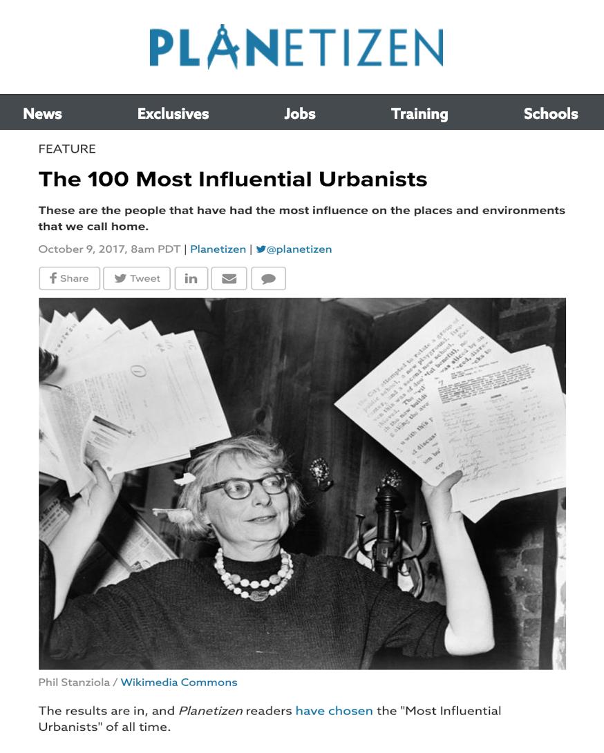 Los 100 urbanistas más influyentes. - Los resultados están aquí, y los lectores de Planetizen han elegido alos