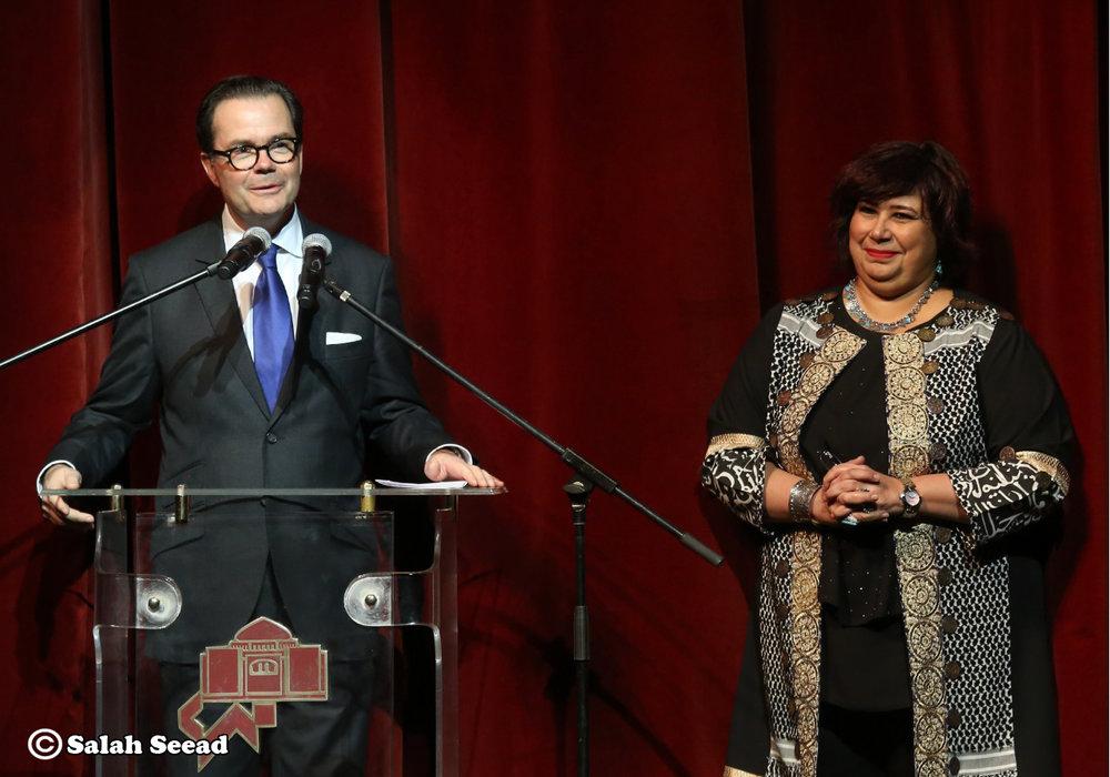 Inauguration de la Saison France Egypte, 8/01/19. M. l'Ambassadeur de France Stéphane Romatet, Mme la Ministre de la Culture Ines Abdel-Dayem.