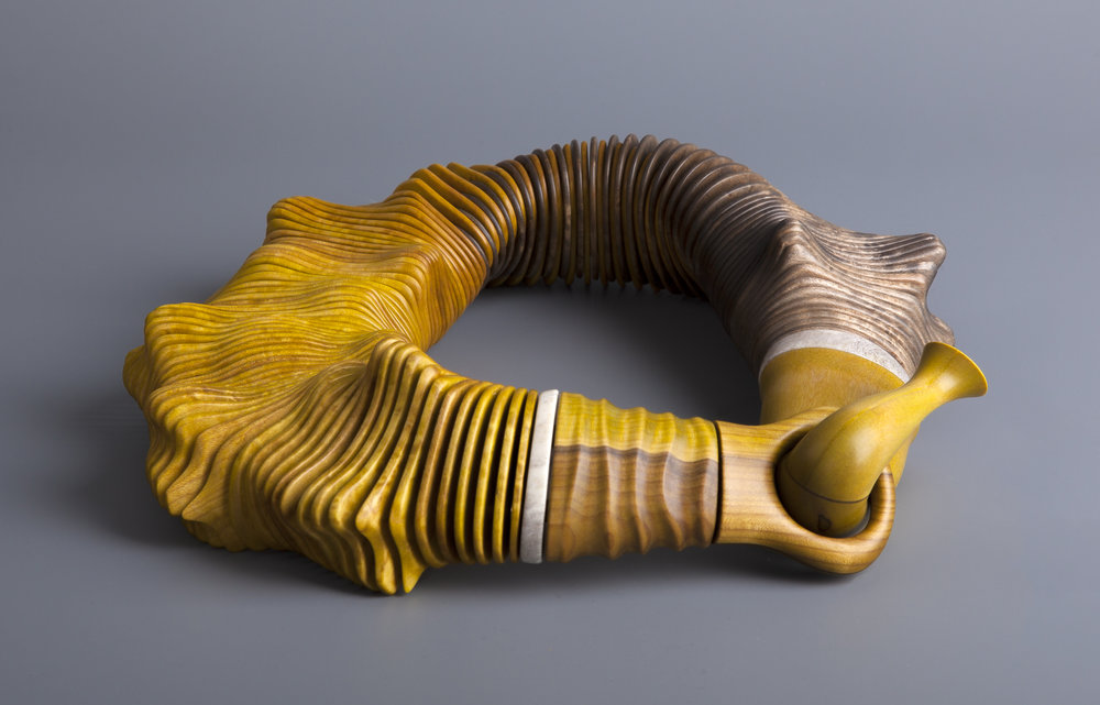 Voice of the Forest, 2008  |   Necklace | Stained bird's eye maple, rowan, reindeer horn, brass discs, polyester cords  Photo credit: Guri Dahl