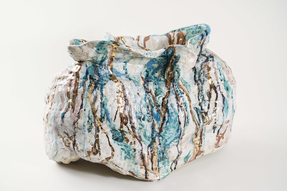 Behold the Sea nr.1, 2018.  | Hand-built stoneware, glaze and gold H.36 x W. 54 x D. 30 cm  Photo credit: Jørn Lang