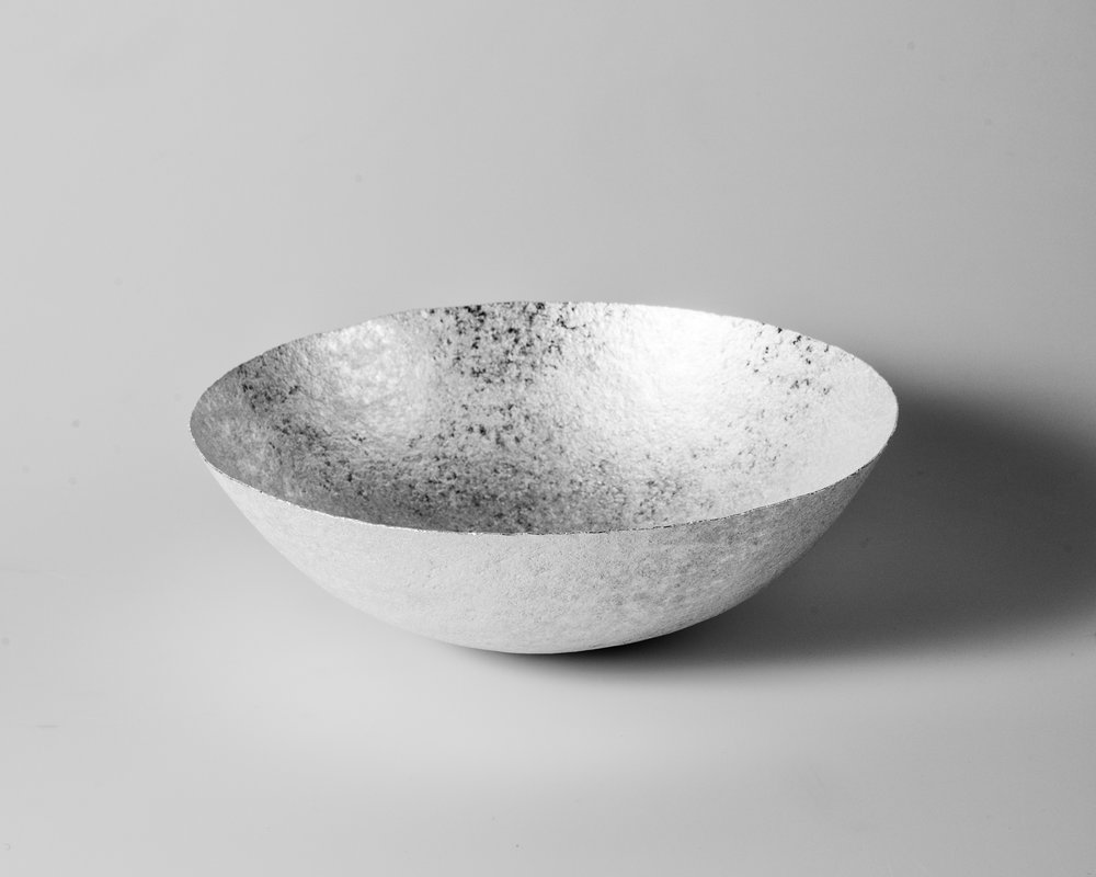 The importance of water V (Bowl), 2018    Forged silver. 925 S. 662 g. H. 8.5 x W. 26 cm.  Photo credit: Christian Tviberg