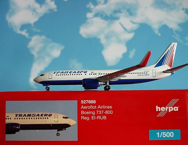 - 1/500 Transaero Airlines 737-800 EI-RUB £24.50