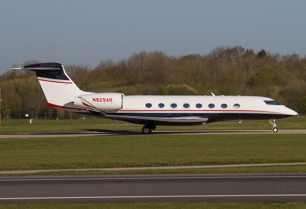 A beautiful shot of a beautiful aircraft from Steve Ashworth - Gulfstream 650 N829AR at Manchester on Thursday 11th April.