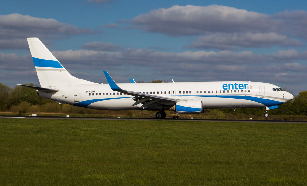 If there are football flights anywhere the chances are that Enter Air will probably be involved for one of the teams! 10th April at Manchester and Barcelona fans it was with Boeing 737-800 SP-ENR providing the transport on this occasion. Photo:Debbie Riley.