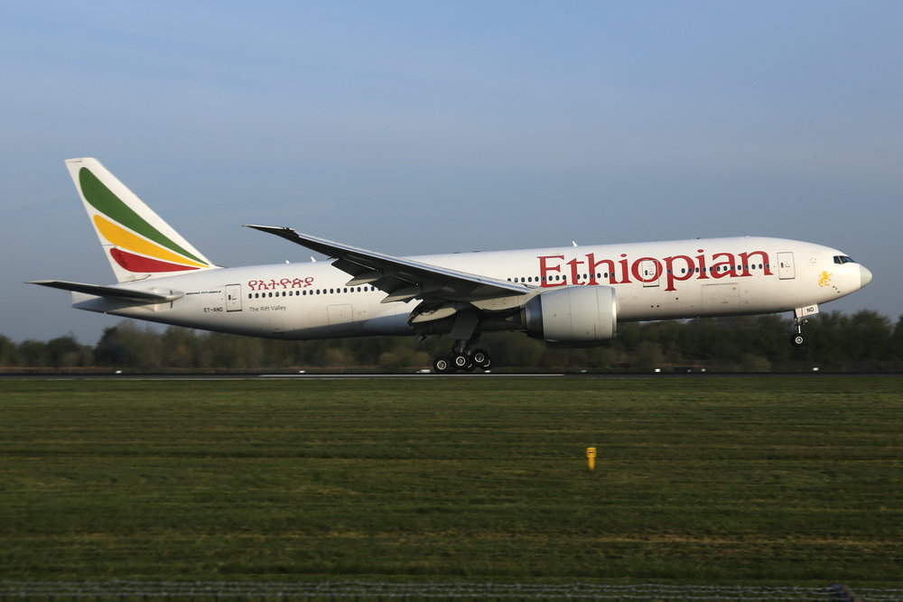 Ethiopian operated B777-200LR ET-ANO on their 728 service from Addis via Brussels today (19th April).Photo: John Wood .