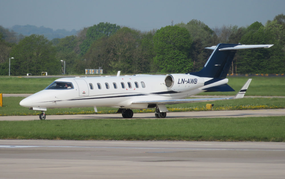 Lear Jet 45 LN-AWB is seen taxiing out for a runway 23 Left departure on Monday 22nd April. Photo Chris Boyde.