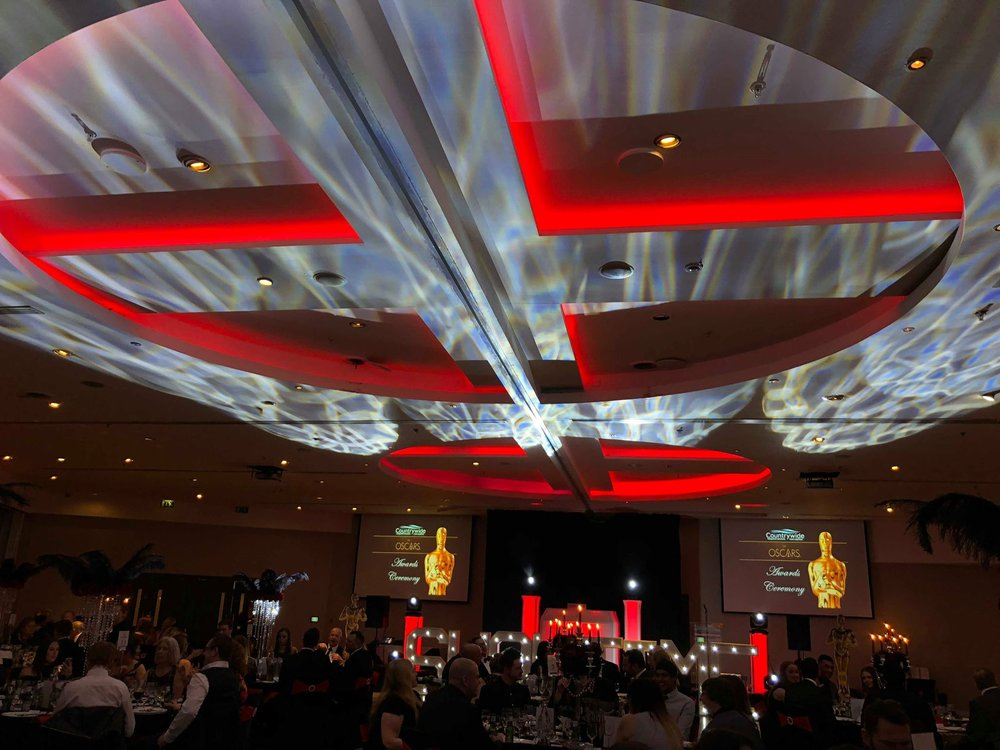 Oscars Evening at The Lowry Hotel Manchester with Bespoke Lighting Concept