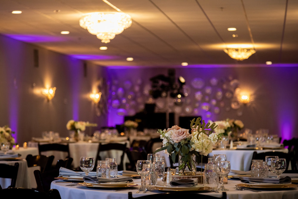 A romantic and cozy reception inside the Riverside Room