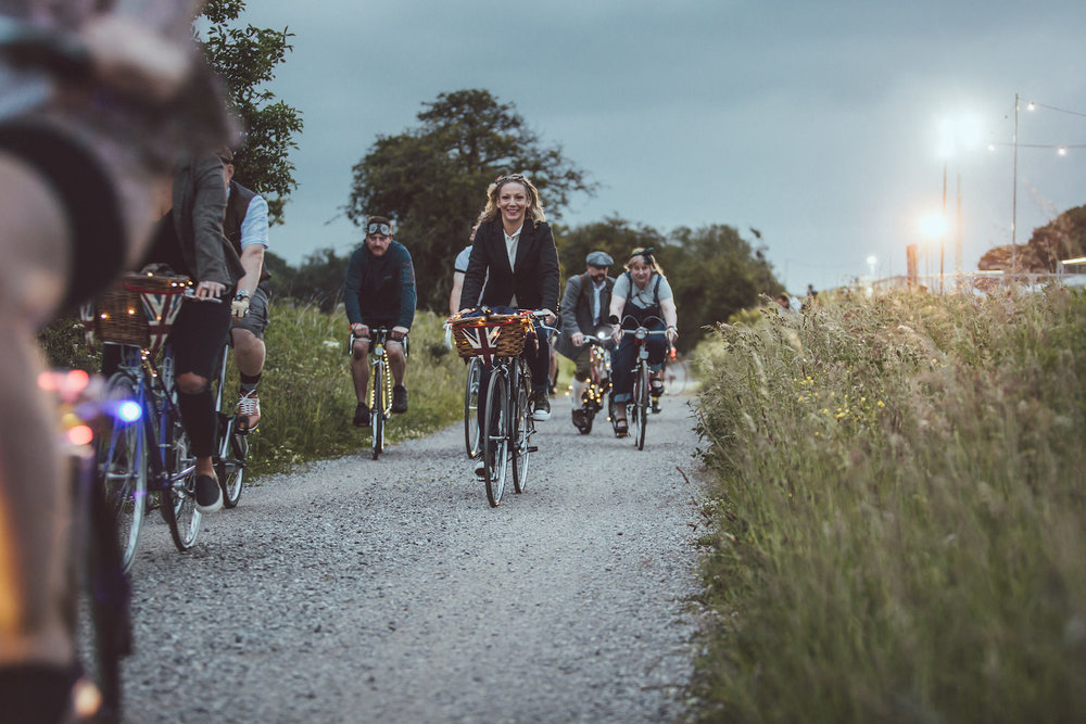 Image from 'The Light of Luciano Twilight Ride' at Eroica Britannia 2018. The family ride along the High Peak Trail to a local pub was a tribute to the late Italian legend, Luciano Berruti.