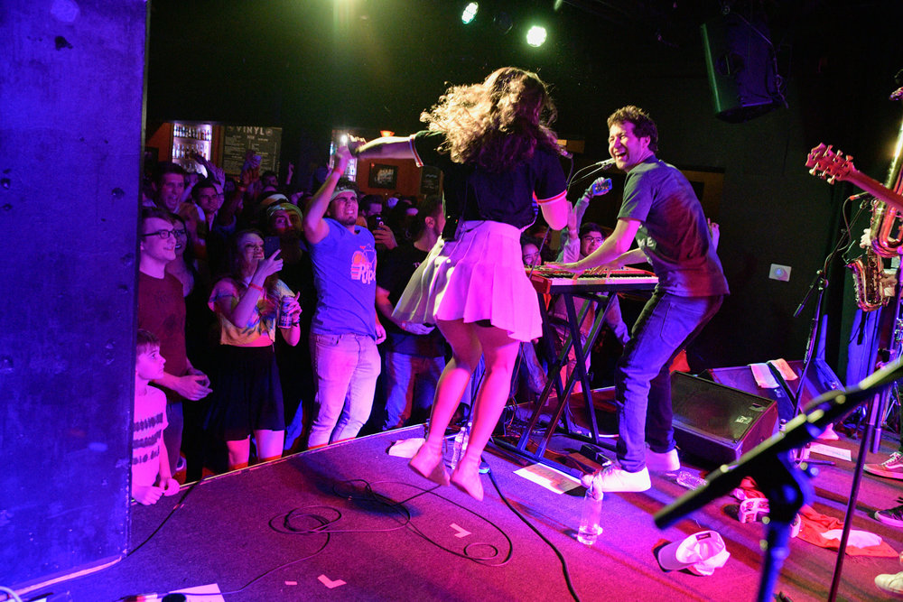 """Lawrence, led by the Jewish sibling team of Clyde and Gracie Lawrence who are deeply influenced by both Carole King and Jerry Seinfeld - which they refer to as """"New York, Jewish storytelling"""", a tradition they long to be a part of - put on an amazing, super funky show at Vinyl @ Centerstage."""