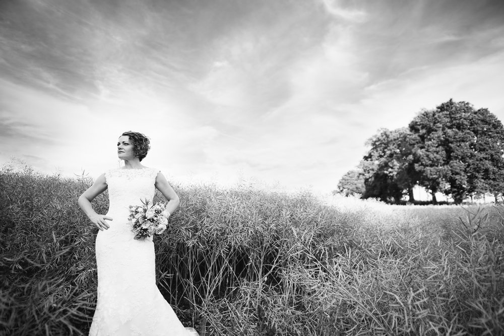 A Bride posing in a wheat field at Manor Hill House Worcs