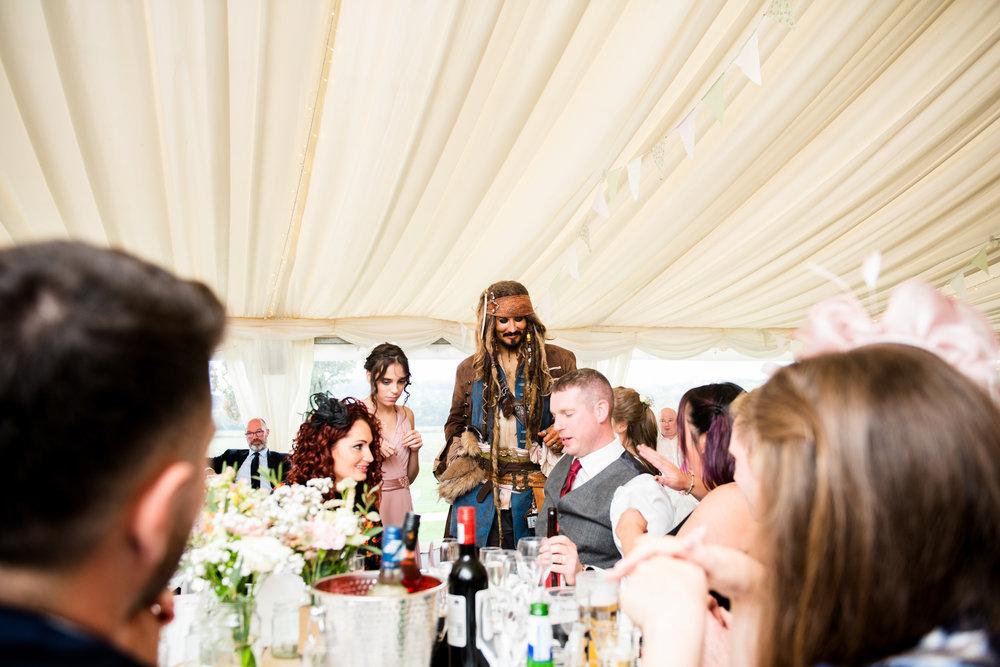 Wedding entertainer Stefan Pejic dresssed as Captain Jack Sparrow during the wedding breakfast