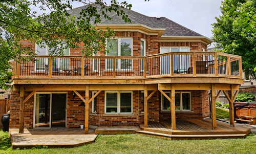 Pressure Treated Decks - The most economical choice, decks built from brown pressure treated lumber are durable and stainable, but will require high maintenance to keep looking nice.