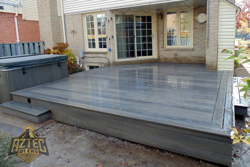 Ajax fiberon composite deck with hot tub