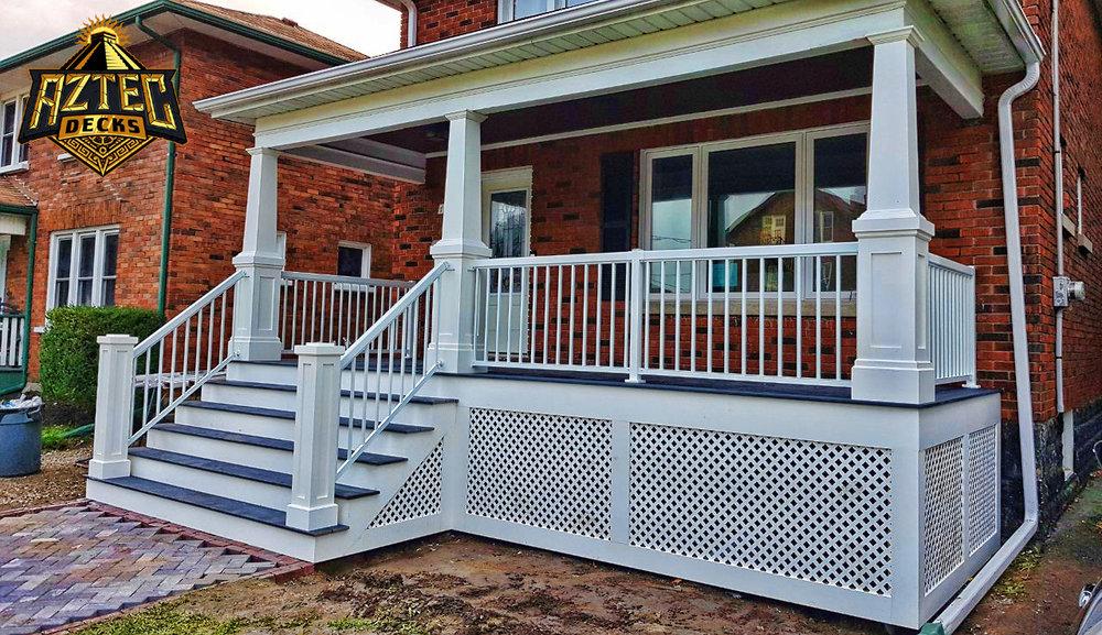 Oshawa Trex Azek composite front porch pvc columns lattice skirting