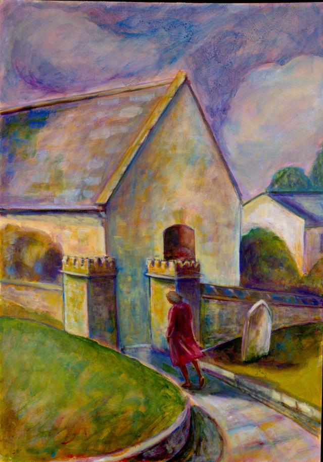 Dorset Churchyard Walk (acrylics painting) ©irenejuliawise