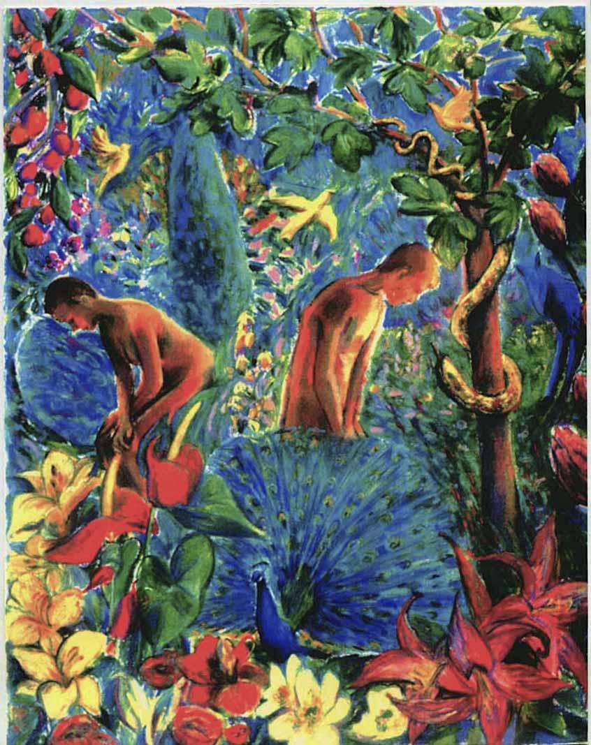 Adam and Eve, Garden of Eden (pastels) ©irenejuliawise