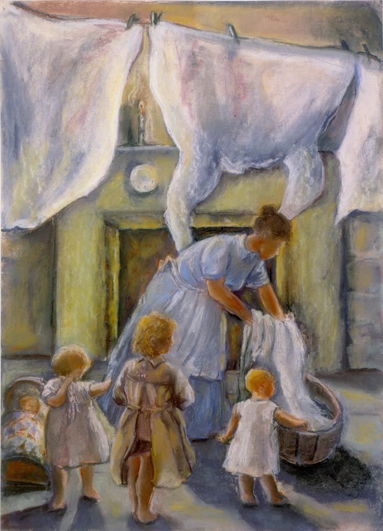 Hanging Washing: Tess of the d'Urbervilles, Thomas Hardy (pastels)  ©irenejuliawise, pastels