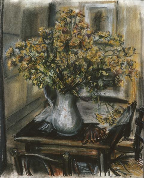 Orange Flowers with gloves (pastels) ©irenejuliawise
