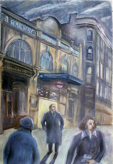 Earls Court Station (pastels) ©irenejuliawise
