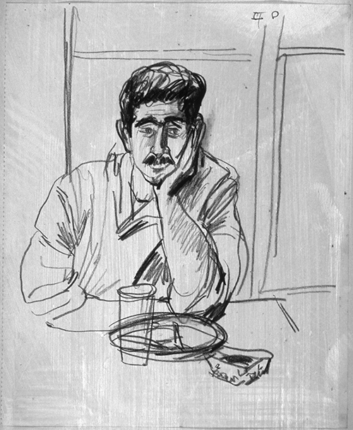 Chef Eats His Lunch, Paris (pencil drawing) ©irenejuliawise