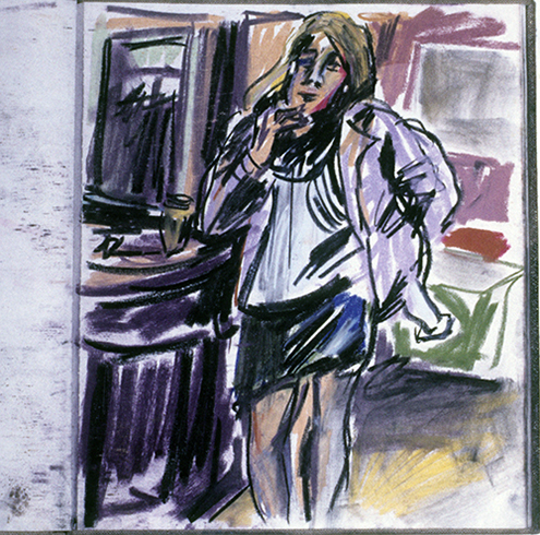 Girl in the Paris Bar (pastels) ©irenejuliawise
