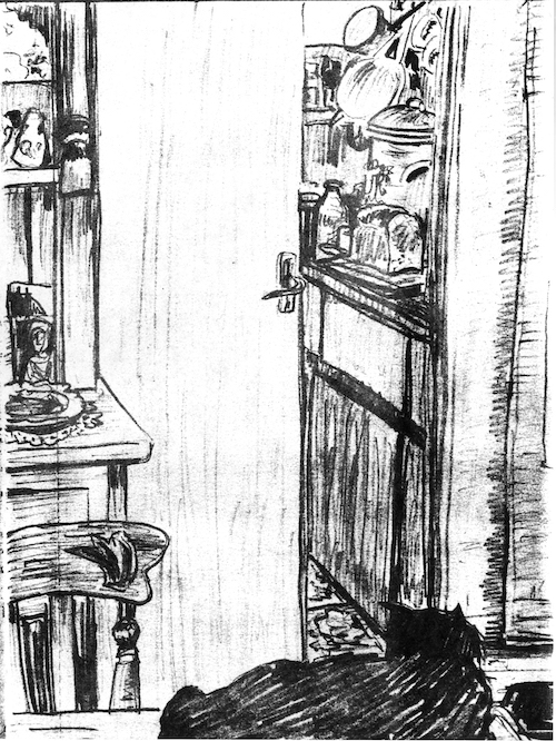 Cat Guarding the Kitchen (pencil drawing) ©irenejuliawise