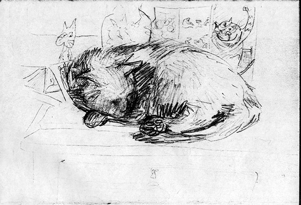 Cat Asleep Amongst the Cat Birthday Cards (pencil drawing) ©irenejuliawise