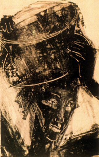 Woman Carrying Water (monoprint) ©irenejuliawise