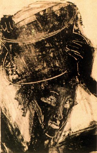 Woman Carrying Water (monoprint) ©irenejuliawise