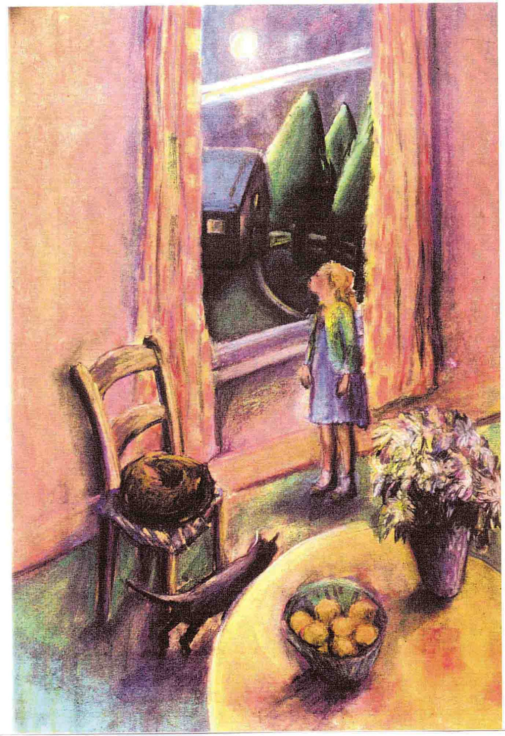 Child At The Night Window with her Cats (pastels) ©irenejuliawise