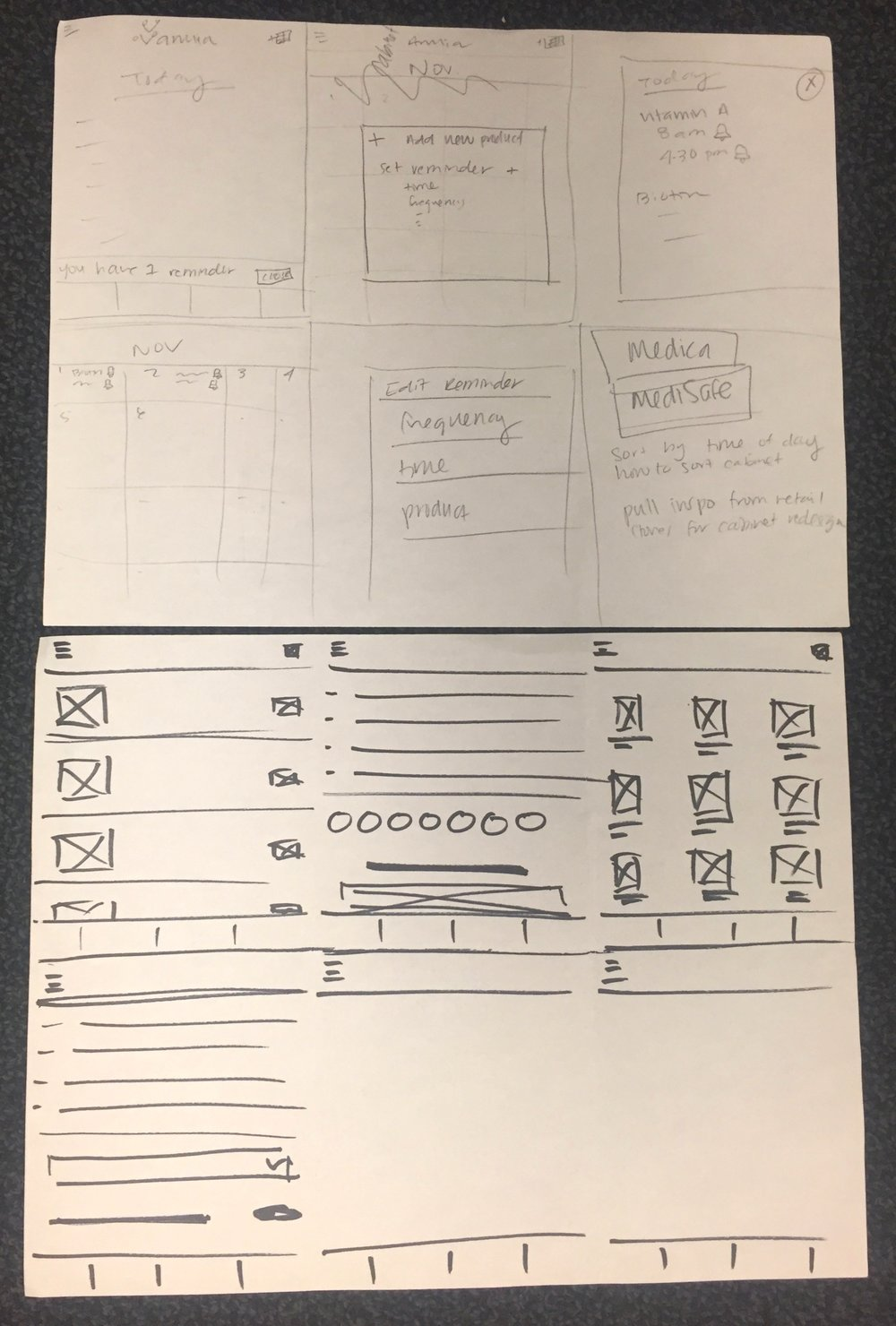 *Design Studio - a timed, 5 minute exercise in sketching. Each teammate aims to sketch 6 ideas for a specific design - ours tackled the reminder feature.